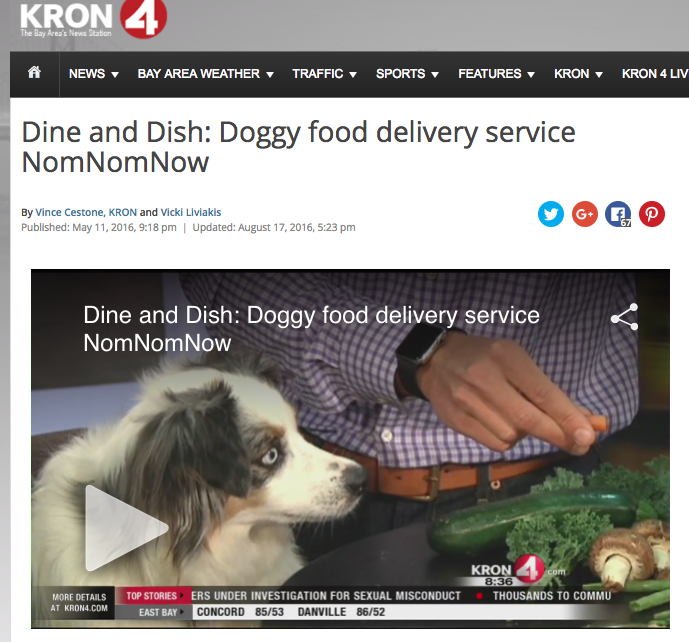 Dog Food Delivery: NomNomNow featured on Bay Area's KRON4